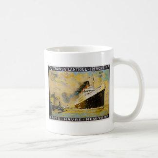 Cie. Gle. Transatlantique Cruise Vintage Travel Coffee Mugs