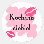 Ciebie de Kocham - polaco te amo Etiquetas Redondas