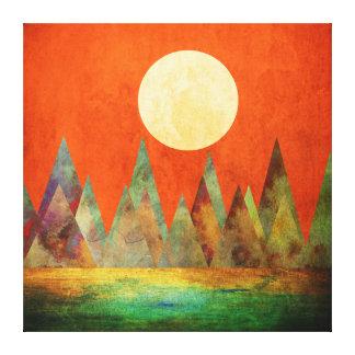 Cielo abstracto del naranja de las montañas de la impresión en lienzo