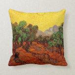Cielo amarillo Sun, arte de los olivos de Van Gogh Almohada