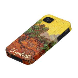 Cielo amarillo Sun, arte de los olivos de Van Gogh Vibe iPhone 4 Funda