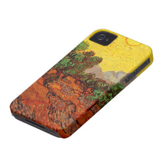 Cielo amarillo Sun, arte de los olivos de Van Gogh iPhone 4 Case-Mate Cárcasa