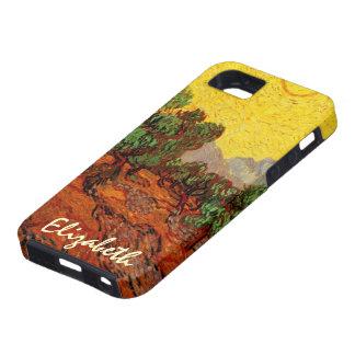 Cielo amarillo Sun, arte de los olivos de Van Gogh Funda Para iPhone 5 Tough