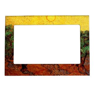 Cielo amarillo Sun, arte de los olivos de Van Gogh Marcos Magnéticos