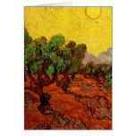 Cielo amarillo Sun, arte de los olivos de Van Gogh Tarjeton