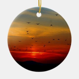 Cielo atmosférico, puesta del sol, pájaros, foto h adorno para reyes