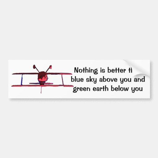 Cielo azul abajo, tierra verde arriba pegatina de parachoque