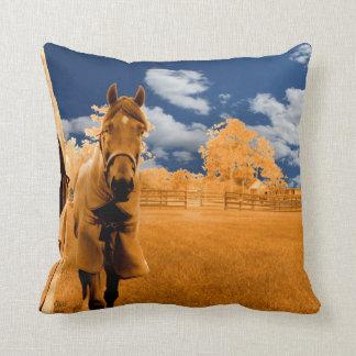 cielo azul anaranjado de la cerca del caballo que cojín