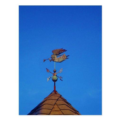 Cielo azul brillante de la paleta de tiempo del án postal