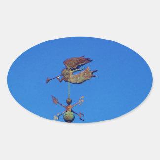 Cielo azul brillante de la paleta de tiempo del pegatina ovalada