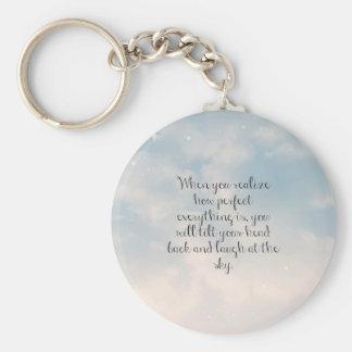 """Cielo azul """"cuando usted realiza"""" cita inspirada llaveros"""