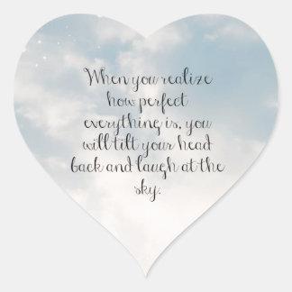 """Cielo azul """"cuando usted realiza"""" cita inspirada pegatina en forma de corazón"""