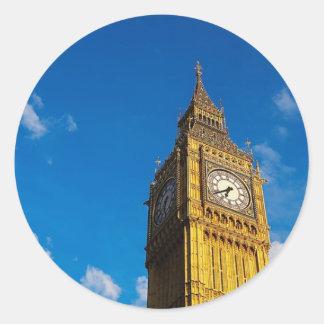 Cielo azul de Big Ben Pegatina Redonda