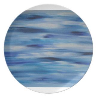 Cielo azul de la colección de las pinturas de plato de cena