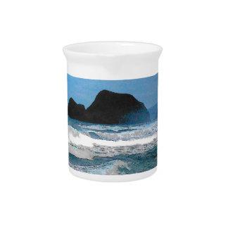 Cielo azul de la costa hawaiana jarra para bebida