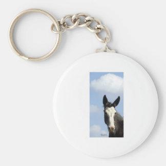 Cielo azul de la mula calva de la cara llavero redondo tipo pin