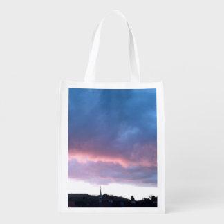 Cielo azul de la nube del bolso Re-usable Foldaway Bolsa Reutilizable