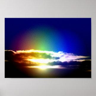 Cielo azul de la puesta del sol del arco iris impresiones