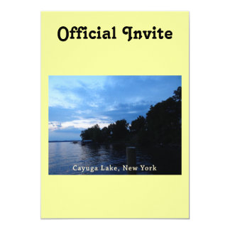 """Cielo azul de la puesta del sol del lago Cayuga Invitación 5"""" X 7"""""""