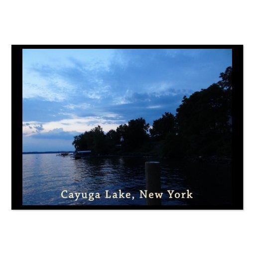 Cielo azul de la puesta del sol del lago Cayuga Tarjetas De Visita Grandes