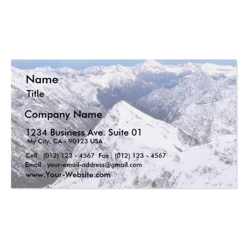 Cielo azul de las montañas de la montaña con nieve tarjetas de visita
