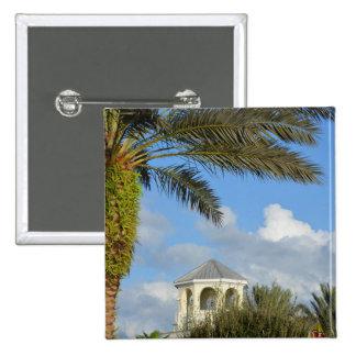 Cielo azul del chapitel de la palmera de la escena pin cuadrada 5 cm