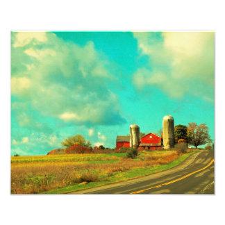 Cielo azul del granero rojo impresión fotográfica