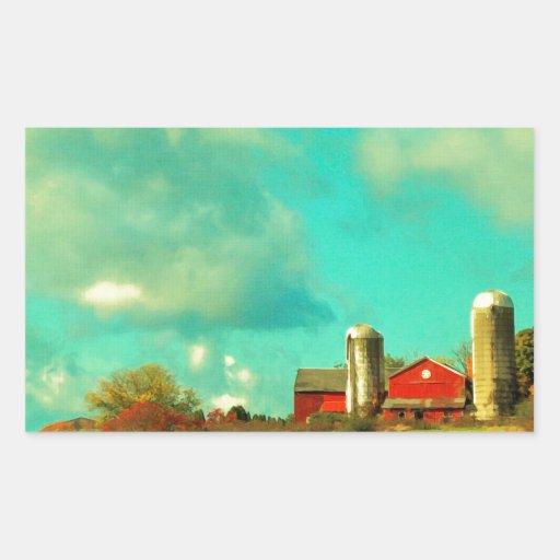 cielo azul del granero rojo rectangular pegatinas