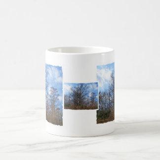 Cielo azul del pantano de la escena del invierno d tazas de café