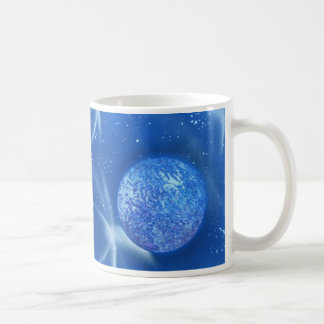 cielo azul del planeta spacepainting taza básica blanca