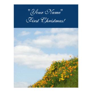 Cielo azul del primer del navidad papel del libro  plantillas de membrete
