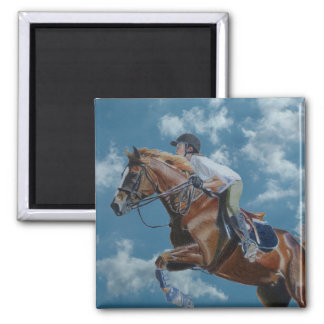Cielo azul del puente del caballo imán cuadrado