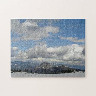 Cielo azul detrás de las nubes rompecabezas