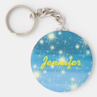 Cielo azul personalizado con las estrellas llavero redondo tipo pin