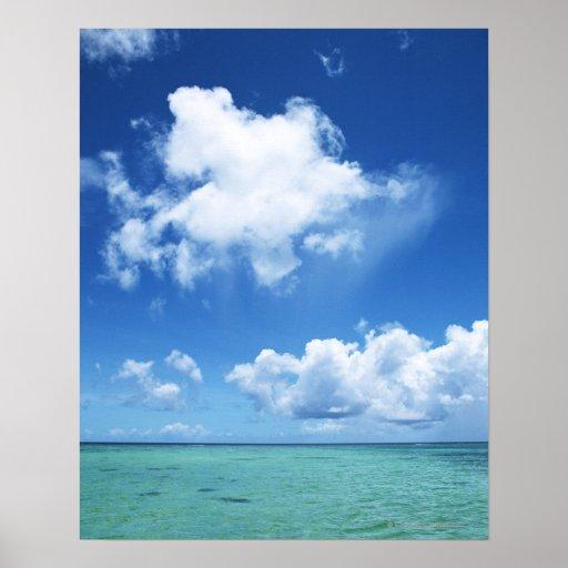 Cielo azul y el mar impresiones