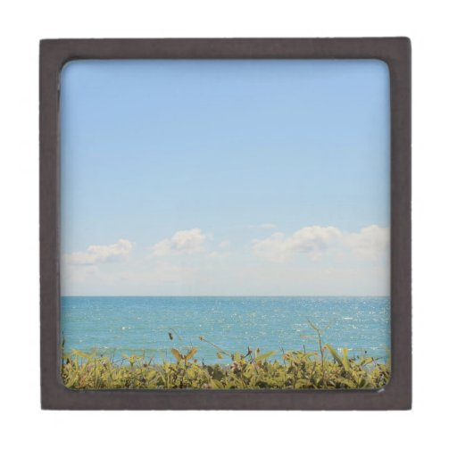 Cielo azul y fotografía pacífica del océano del ma caja de joyas de calidad