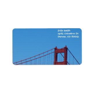Cielo azul y Golden Gate Etiquetas De Dirección