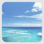 Cielo azul y mar 17 calcomanía cuadrada personalizada