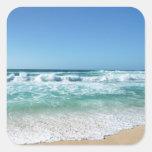 Cielo azul y mar 18 pegatina cuadrada