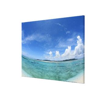 Cielo azul y mar 2 lona estirada galerías