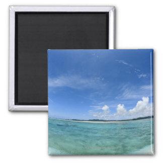Cielo azul y mar 3 imán de frigorífico