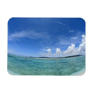 Cielo azul y mar 3 imanes rectangulares