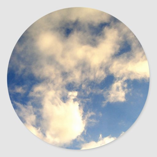 Cielo azul y nubes CricketDiane Etiqueta Redonda