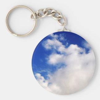 Cielo azul y nubes llavero personalizado