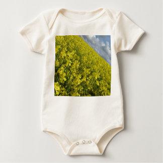 Cielo azul y nublado del agaisnt amarillo de la body para bebé