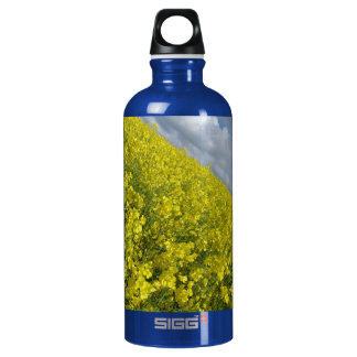 Cielo azul y nublado del agaisnt amarillo de la botella de agua