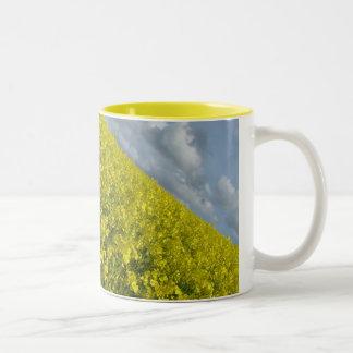 Cielo azul y nublado del agaisnt amarillo de la taza de café de dos colores