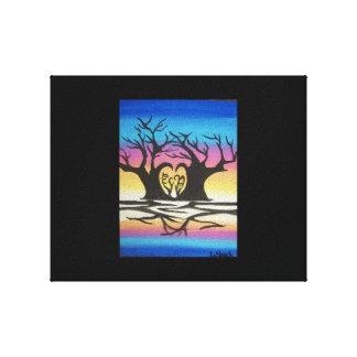 Cielo colorido de los árboles de la forma del impresión de lienzo