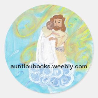 Cielo con Cristo Pegatina Redonda