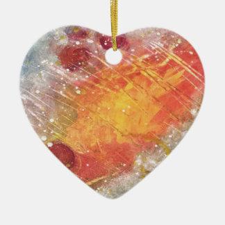 Cielo cósmico con la pintura abstracta de las adorno navideño de cerámica en forma de corazón